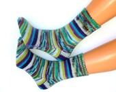 Hand knitted socks Warm socks Winter socks Striped athletic socks from sock yarn Striped blue green white socks Knitted wool socks Gift idea