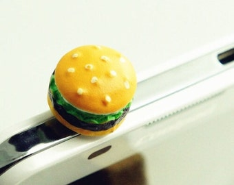 Hamburger Cell Phone Dust Plug/Deco. Phone bling/accessory.  Cell phone dust plug.