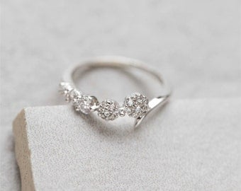 Silver Flower Stone Adjustable Ring