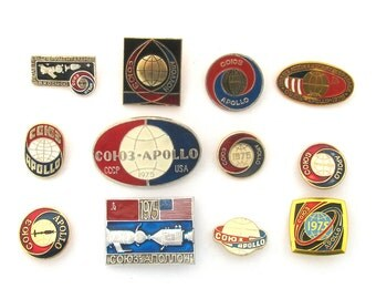 Apollo - Soyuz, Space, Set of 12 Badges, Cosmos, Rare Vintage collectible badges, Soviet Vintage Pin, Soviet Union, Made in USSR, 1970s