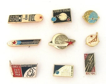 Space, Badges, Set, Cosmos, Vintage collectible badge, Soviet Vintage Pin, Soviet Union, Made in USSR