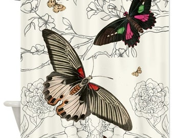 Vintage Butterflies Shower Curtain