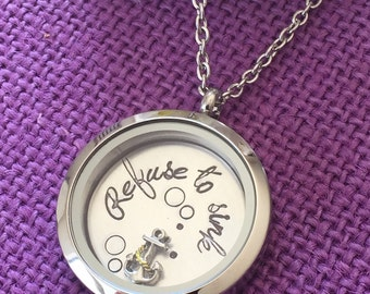 Refuse to sink - Personalized Locket - Motivation Necklace - Refuse to Sink Necklace - Anchor - Locket Necklace