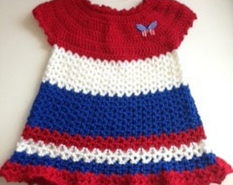 Baby girl 4th of July dress and headband, hand crocheted 12 months