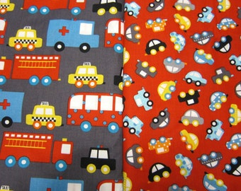 Children's Cotton Car Fabric Set Called Ready Set Go by Anne Kelle for Robert Kaufman Fabrics.