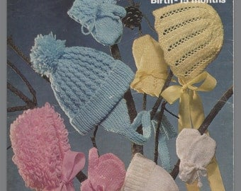 Marriner knitting pattern no 1655 baby's bonnets caps and mitts