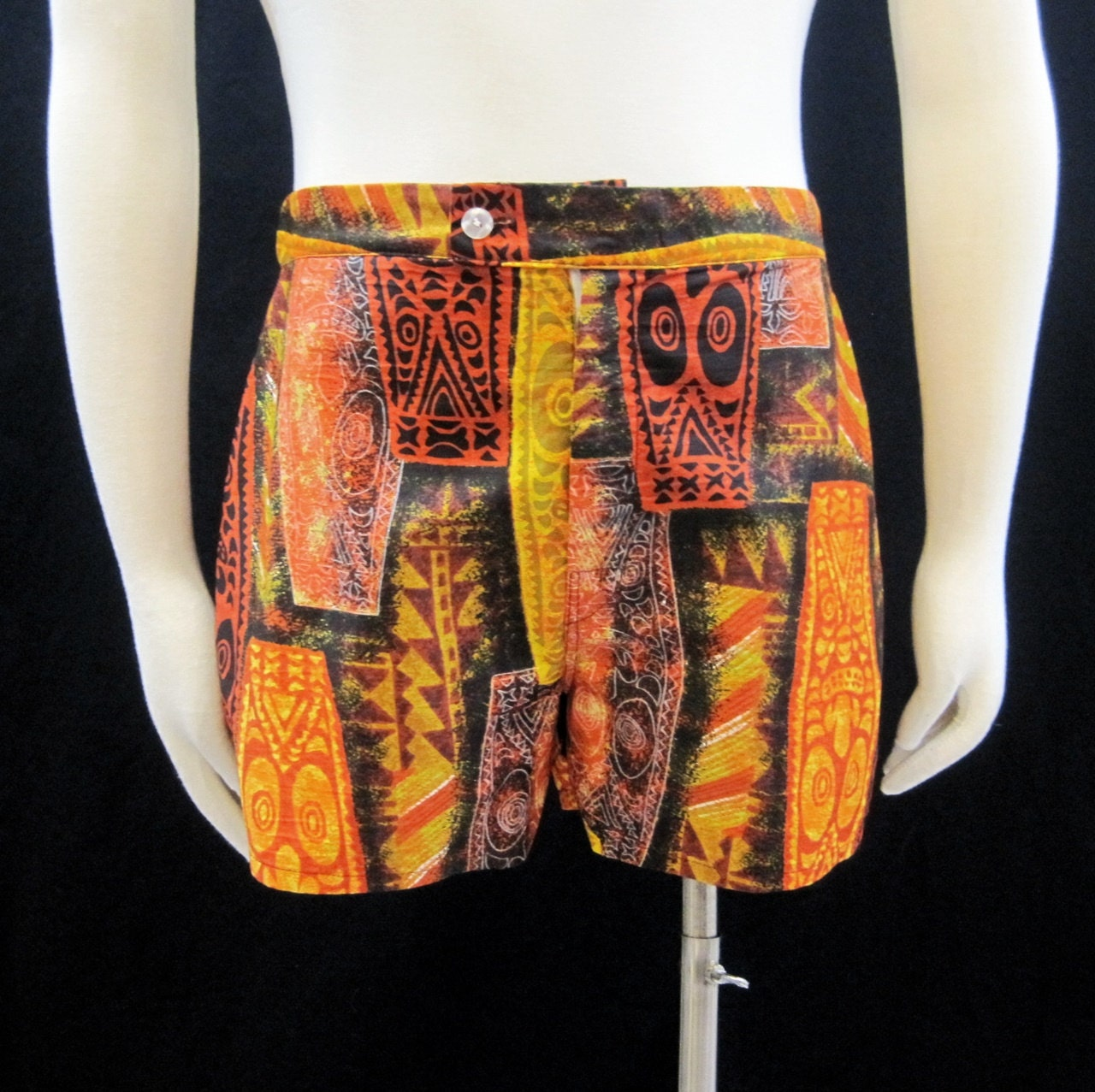 Vintage Mens Swim Trunks 60s Hawaiian Tiki Shorts Swimsuit