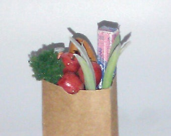 Bag of Grocery, 1:12 Scale Dollhouse Miniature Food