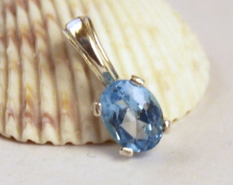 Blue Topaz Necklace, Sterling Silver, Blue Topaz Pendant, Silver Necklace, Gemstone Necklace, Necklace, Topaz Necklace, Blue Topaz Jewelry
