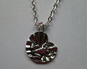 Silver plated metal chain necklace with metal frog on Lily Pad charm, pendant