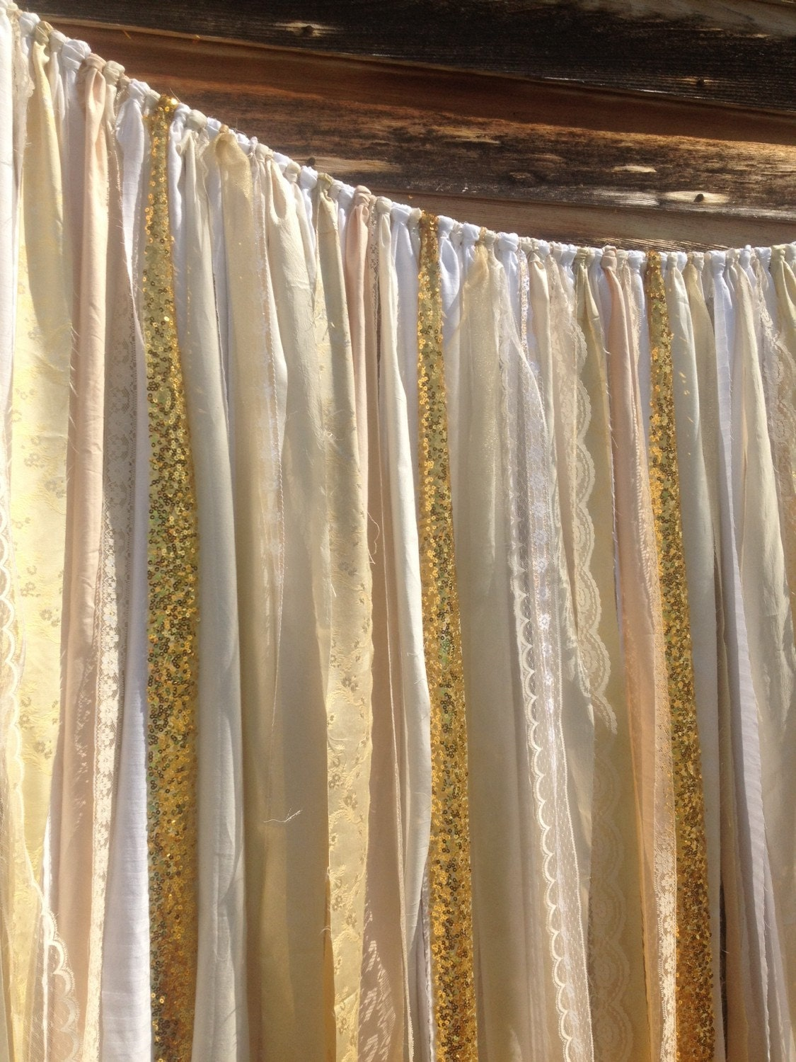 Gold Sequin Backdrop Ivory White Gold Lace Sequins Ribbon