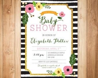 Chic baby shower invitation - flowers - glitter - black white stripes invitation-printable invite