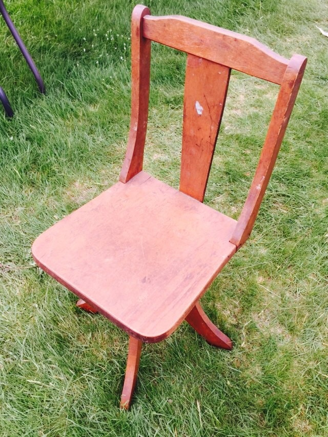 vintage childs swivel chair wood cast iron by