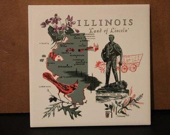Wonderfully Vintage Decorative Ceramic Tile - Illinois 'Land of Lincoln' - Screencraft