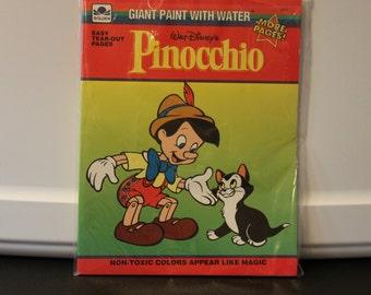 Fantastic Vintage Walt Disney's Pinocchio Giant Paint With Water Book - GOLDEN 1992 - #2851
