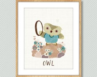 O is for Owl, Alphabet Print, ABC Poster, Owl Nursery Art, Gift for Children, Alphabet Poster, Abc Nursery Art, Baby Shower, Nursery Decor