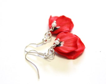 Petal Poppy, Red Poppy Drop Earrings, Red Flower Drop Earrings,  Poppy Jewelry, Wedding Earrings, Summer Jewelry, Bridesmaid Jewelry