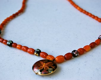 Long Beaded Vintage Pendant Necklace