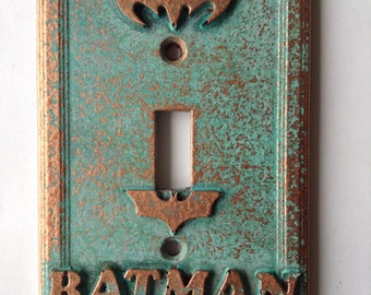 Batman - Light Switch Cover - Aged Copper/Patina or Stone