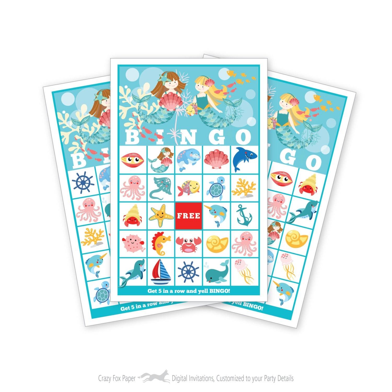 Mermaid BINGO Game - Kid's Printable Bingo Game - Bingo ...