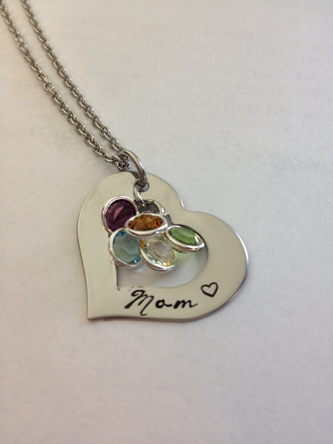 personalized mom birthstone necklace hand stamped stainless. Black Bedroom Furniture Sets. Home Design Ideas