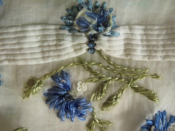 Antique hand-embroidered silk panel, vintage silk place mat, antique silk embroidery, vintage placemat, vintage runner, blue flowers