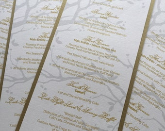 Glam Matte Gold and Silver Menu, Nature inspired, woodland theme, branch
