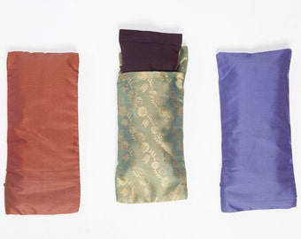 Relaxing Eye Pillow With Indian Silk Pattern - Spa Pillow - Sleep Pillow - Essential Oil Eye Pillow