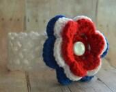 Newborn Fourth of July Headband, 4th of July Flower Headband, Red White and Blue Headband, Patriotic