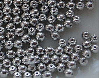BEADS; ROUNDS, 4MM, Argentees Silver Matte, sold in units of approx 200