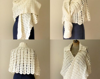 Vintage Handmade White Crochet Wrap, Shawl or Sweater, One Size Fits All!