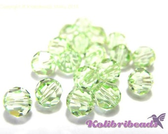10x Swarovski 5000 Faceted Round Beads 6mm - Chrysolite - Genuine Austrian Crystal