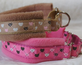 Fleece Lined Martingale Dog Collar -Hearts - 50mm width