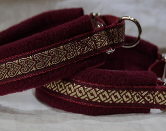 Fleece Lined Martingale Dog Collar -Burgundy & Gold - 35mm width