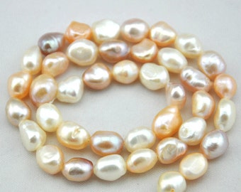 Freshwater Pearl Baroque pearls Potato Multicolour Loose Beads 8.0-9.0mm 36pcs Full Strand Item ---Z0012