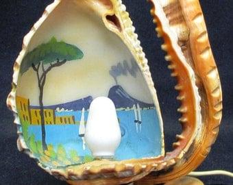 Vintage Hawaiian Hand Painted Shell Lamp
