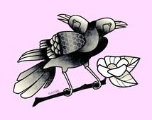Popular items for raven tattoo on etsy - Tatouage gitane signification ...