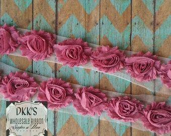 "GOING OUT OF BUSINESSRose Muave 2.5"" Chiffon Shabby Flowers/Wholesale/single/ Yard"