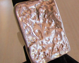 Sterling Silver Large Rectangular Ring from Italy  Size 7