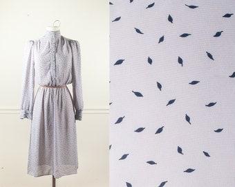 Feather Print Dress, Secretary Dress, Gray Dress, Novelty Print 80s Dress, Leaf Print Dress, Boho Chic Midi Dress, Cute Dress, Retro Dress