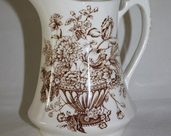 Vintage Alfred Meakin Pitcher Staffordshire England Floral Bounty Pattern Numbered