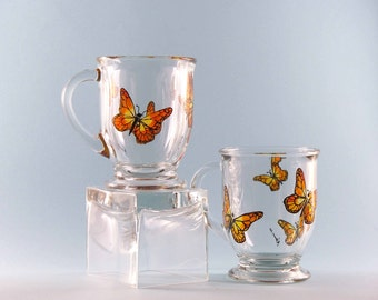 Hand Painted Butterfly Mugs - Butterfly Coffee Mugs - Butterfly Mugs - Set of Two