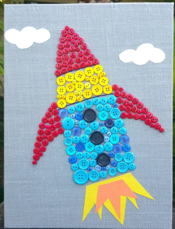 Button art rocket canvas craft panel art baby nursery art for Arts and crafts ideas for boys