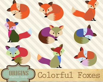 Colorful Foxes, cute baby woodland animals, forest animals clipart, fox clip art, fox clipart vector png eps commercial use