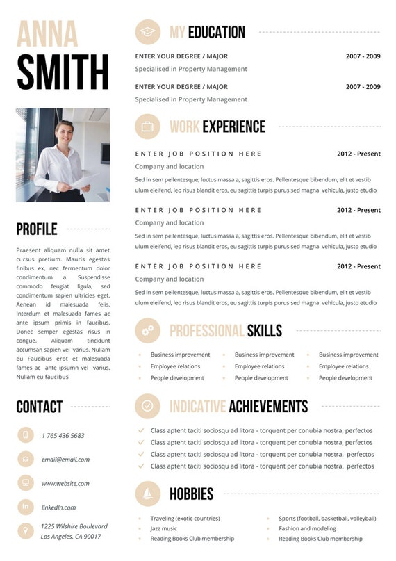 Resume Template No.3 + Cover Letter + Reference Page / Free Business Cards  / Instant Download / Creative / Elegant / Minimalistic