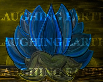 Blue Lotus flower and the rising sun done in colored chalk