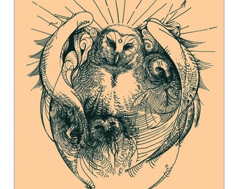 """Knell - occult owl art print at 8x10"""""""