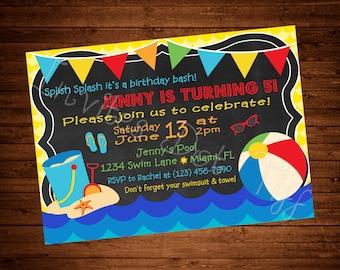 Swim Party Birthday Invitation (Printable)