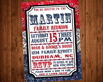 Bandana Style Family Reunion Invite (Printable)