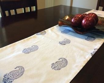 CLEARANCE SALE   Blue Table Runner / White Table Runner/ Table Runner  Handmade / 90